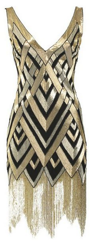 art deco style dress gold-silver