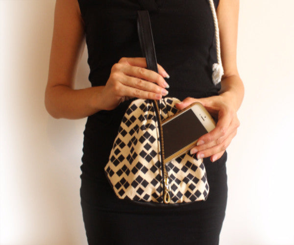 NEW YORK evening clutch in black and white big squares pattern - Petrushka Studio - 4