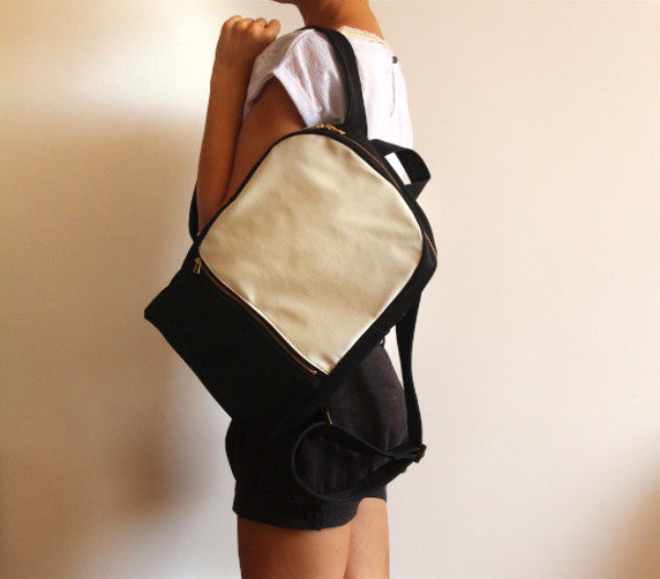 MILAN backpack, black and white women's backpack. - Petrushka Studio - 4