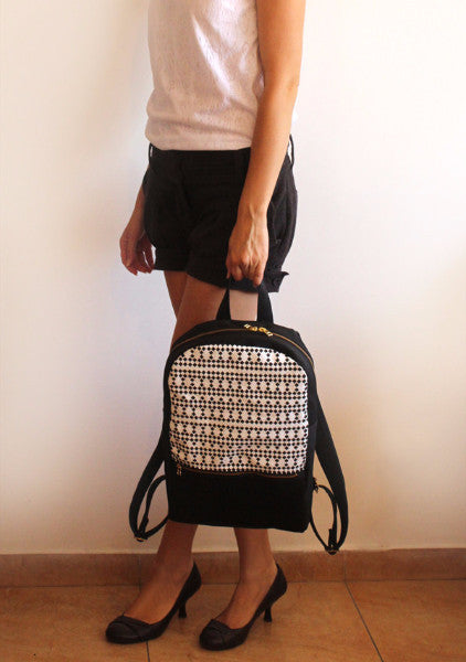 MILAN backpack, black and white women's backpack with squares pattern. - Petrushka Studio - 5