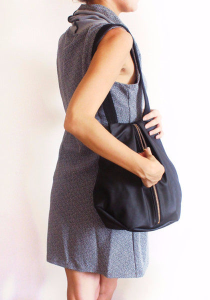ROME tote, black tote bag with zipper for everyday use - Petrushka Studio - 2
