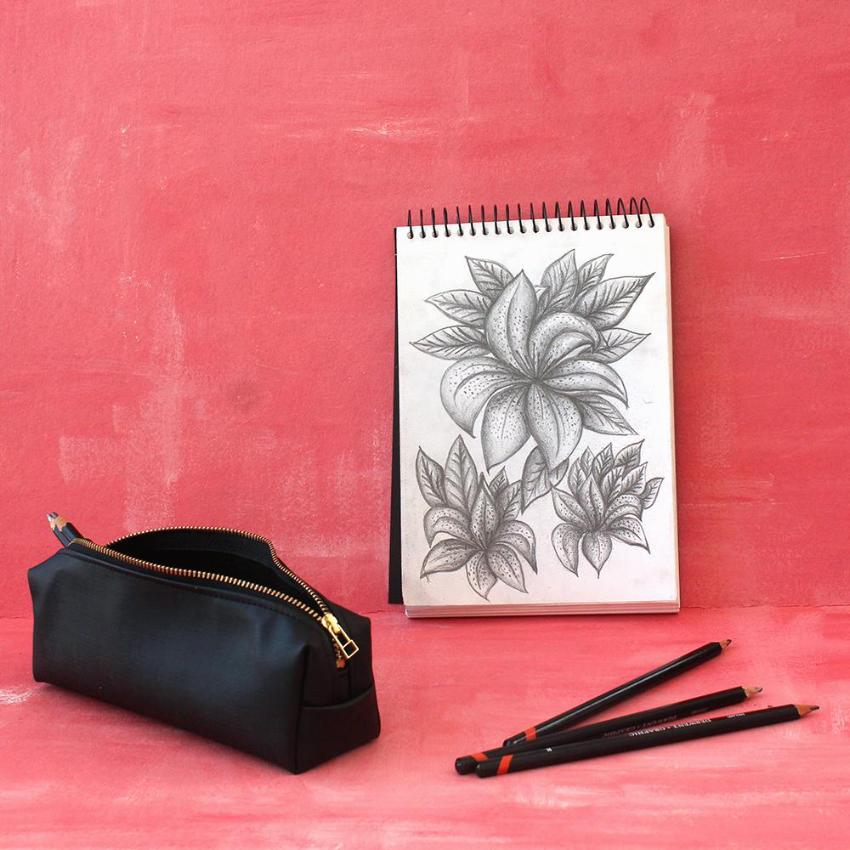 Black Pencil Case - vegan bag by Petrushka studio