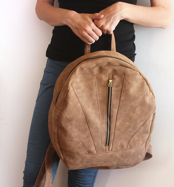 LYON BACKPACK, camel brown backpack. Vegan backpack by Petrushka studio