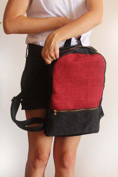 MILAN backpack, red and black backpack for women. - Petrushka Studio - 3