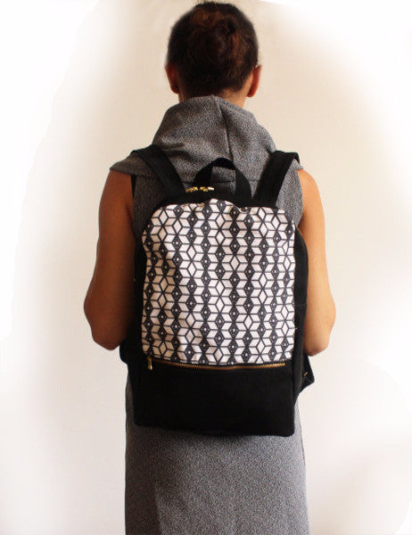 MILAN backpack, black and white women's backpack with ethnic print. - Petrushka Studio - 4
