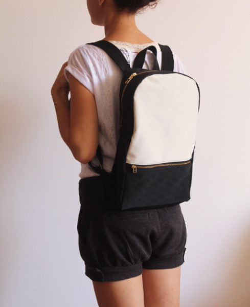 MILAN backpack, black and white women's backpack. - Petrushka Studio - 3