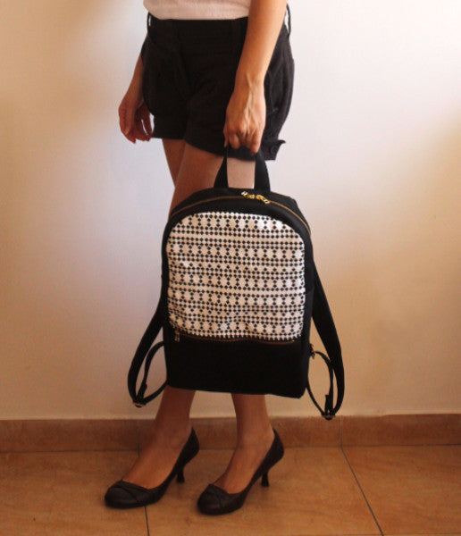 MILAN backpack, black and white women's backpack with squares pattern. - Petrushka Studio - 2