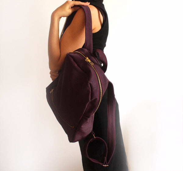 Vegan purple backpack, School backpack, Fabric backpack - Petrushka Studio - 4