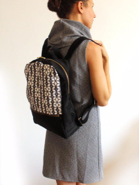 MILAN backpack, black and white women's backpack with ethnic print. - Petrushka Studio - 5