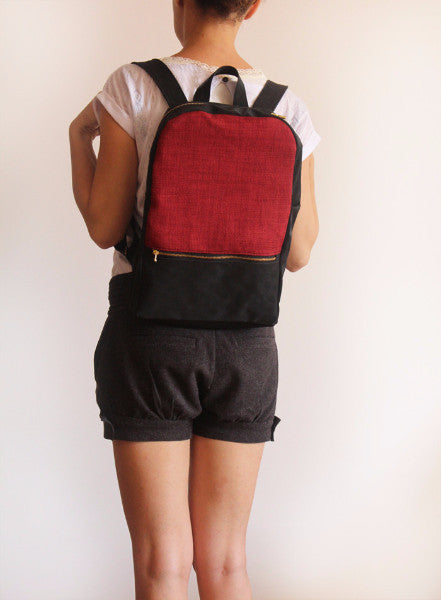 MILAN backpack, red and black backpack for women. - Petrushka Studio - 4