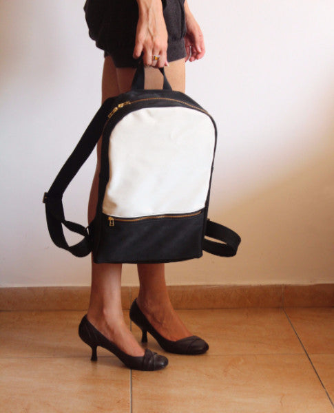 MILAN backpack, black and white women's backpack. - Petrushka Studio - 2