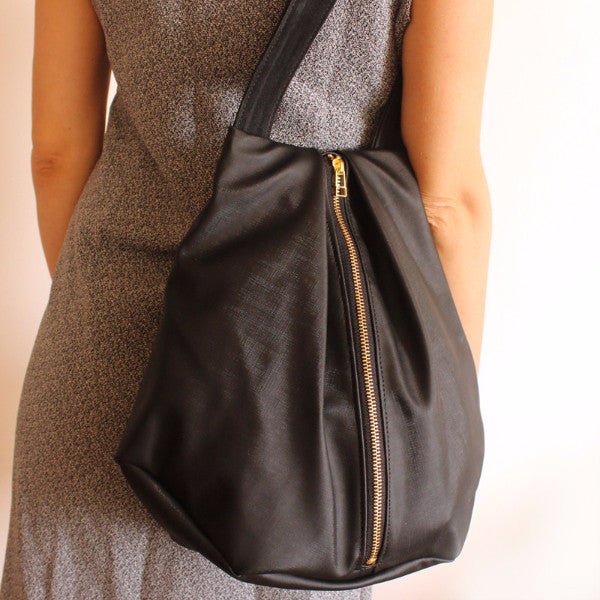 ROME tote, black tote bag with zipper for everyday use - Petrushka Studio - 4