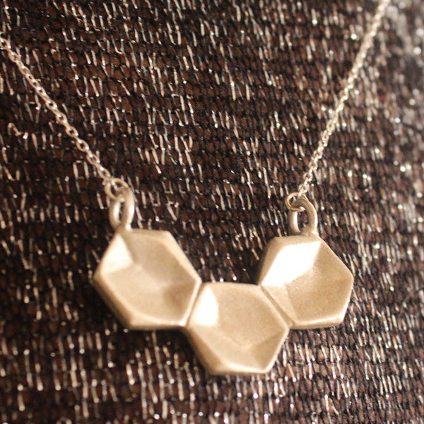 Silver necklace three hexagons - Petrushka Studio - 1
