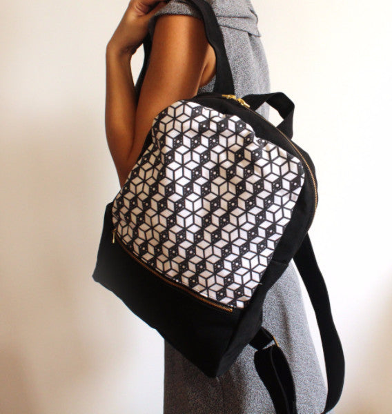 MILAN backpack, black and white women's backpack with ethnic print. - Petrushka Studio - 2