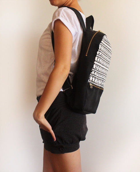 MILAN backpack, black and white women's backpack with squares pattern. - Petrushka Studio - 3