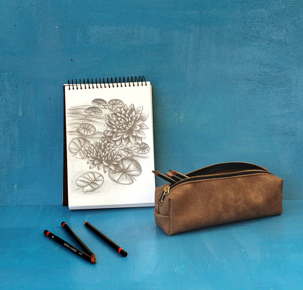 Camel Brown Pencil Case - vegan bag by Petrushka studio