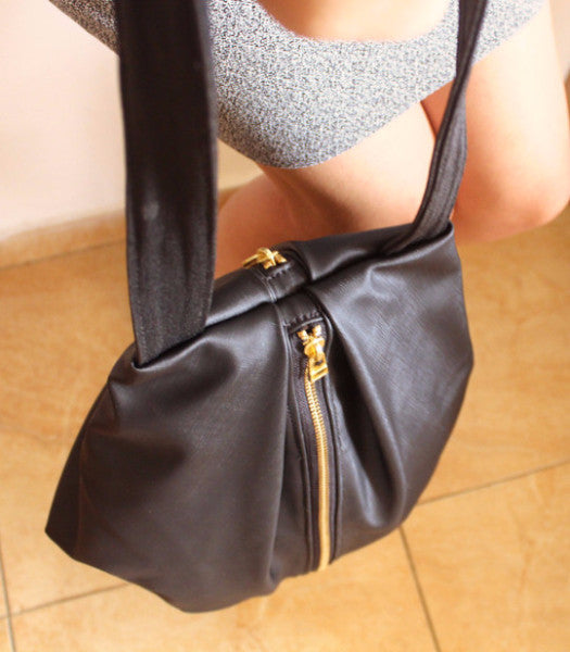 ROME tote, black tote bag with zipper for everyday use - Petrushka Studio - 5