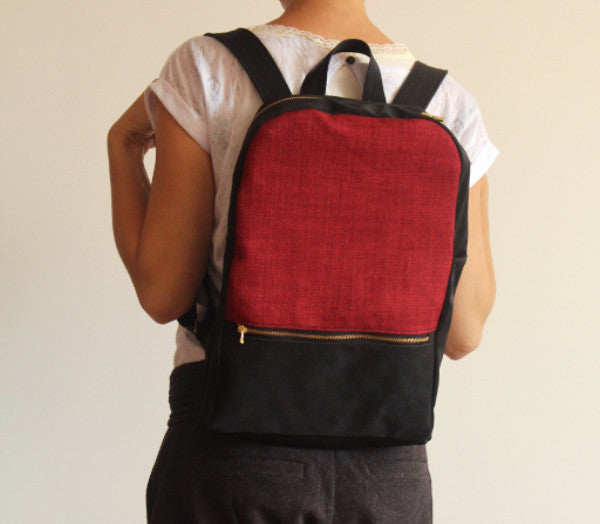 MILAN backpack, red and black backpack for women. - Petrushka Studio - 2