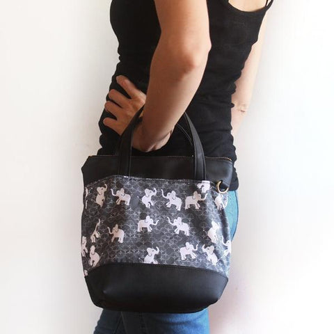 VALENCIA crossbody bag with elephants print. Vegan bag by Petrushka studio