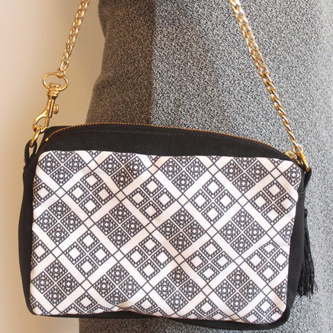 Crossbody black & white bag with ethnic squares pattern - Petrushka Studio - 1