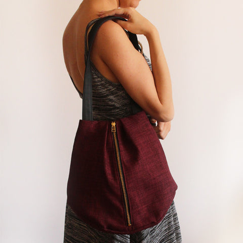ROME tote, maroon tote bag with zipper for everyday use - Petrushka Studio - 1