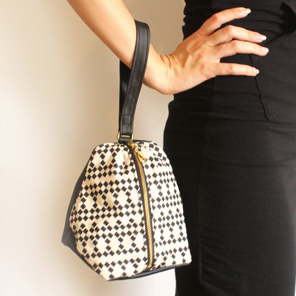 NEW YORK evening clutch in black and white squares pattern - Petrushka Studio - 1