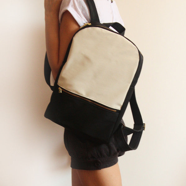 MILAN backpack, black and white women's backpack. - Petrushka Studio - 1
