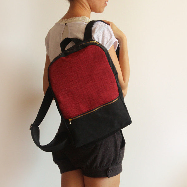 MILAN backpack, red and black backpack for women. - Petrushka Studio - 1