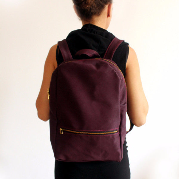 Vegan purple backpack, School backpack, Fabric backpack - Petrushka Studio - 1