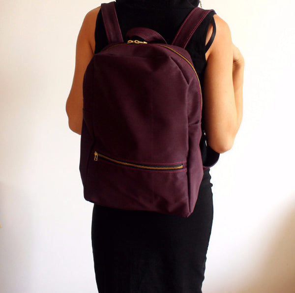 Vegan purple backpack, School backpack, Fabric backpack - Petrushka Studio - 2