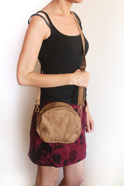 ALBI BAG, small camel brown crossbody bag. Vegan and eco friendly bag by Petrushka studio