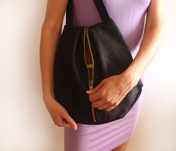 ROME tote, black faux suede tote bag with zipper.