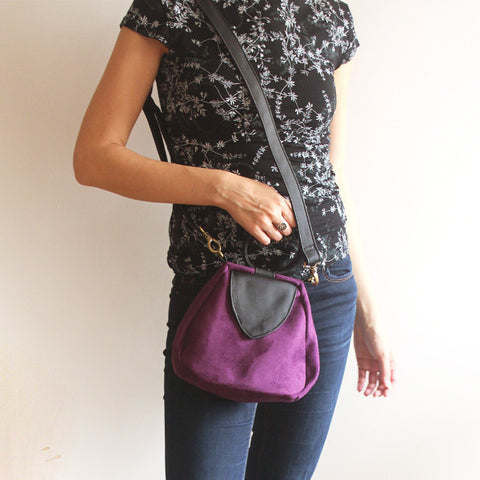 Brooklyn-bell clutch, purple crossbody bag for the modern woman. Vegan bag by Petrushka studio