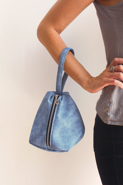 New York Clutch bag in Ice blue - Vegan bag by Petrushka studio