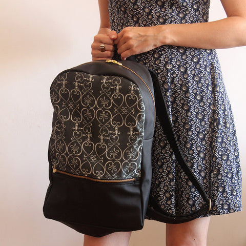 LARGE MILAN, black backpack, women's backpack with modern print. Vegan backpack by Petrushka studio