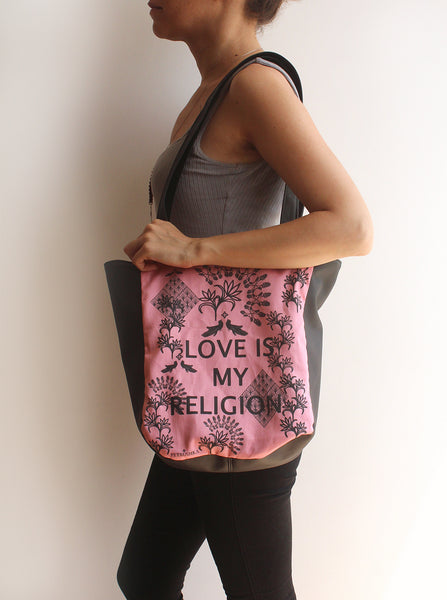 Love Is My Religion tote bag - vegan tote bag by Petrushka studio
