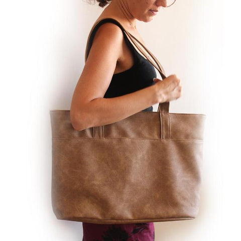 SANTORINI TOTE BAG, large camel brown classic tote. vegan and eco-friendly bag Petrushka Studio