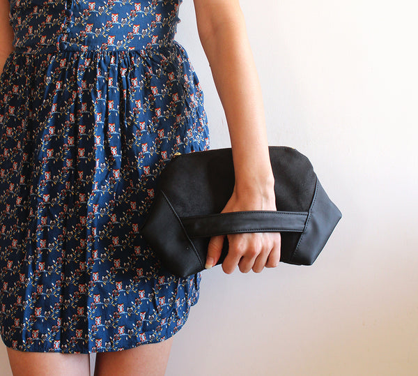 PARIS CLUTCH, black evening bag - vegan bag by Petrushka studio