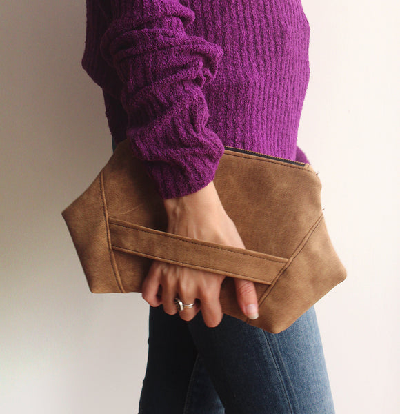 PARIS CLUTCH, modern evening bag in camel brown, eco friendly clutch bag by Petrushka studio