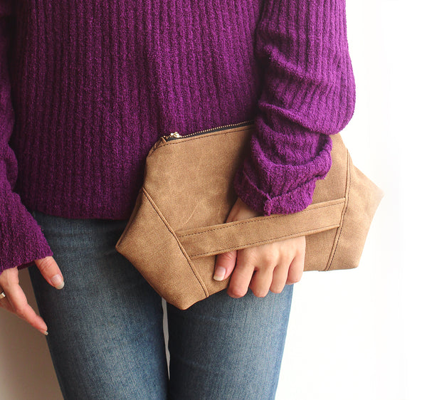 PARIS CLUTCH, modern evening bag in camel brown, eco friendly bag by Petrushka studio