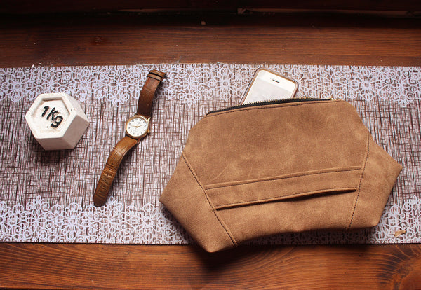 PARIS CLUTCH, modern evening bag in camel brown, eco friendly, vegan clutch bag by Petrushka studio