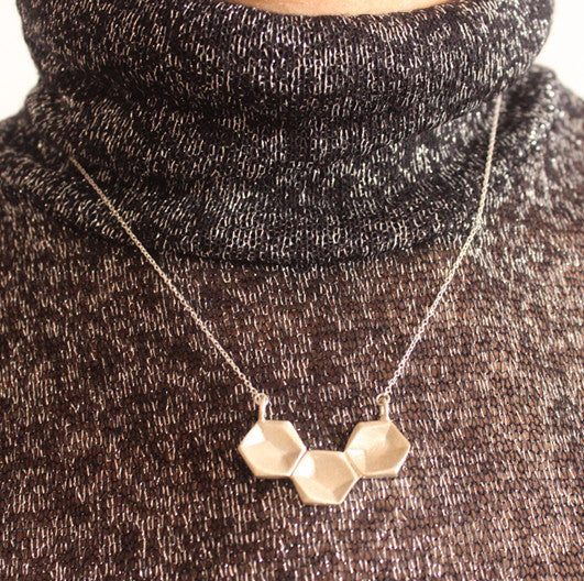 Silver necklace three hexagons - Petrushka Studio - 3