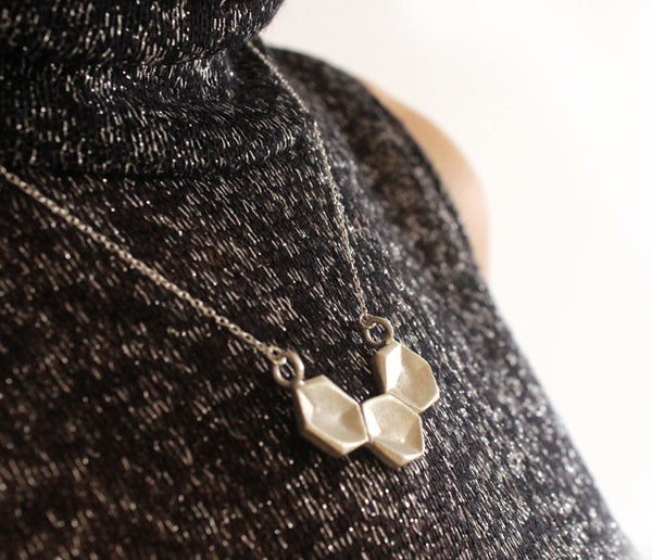 Silver necklace three hexagons - Petrushka Studio - 4