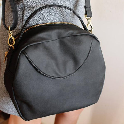 TOKYO BAG, black vegan leather crossbody bag - eco friendly bag by Petrushka studio