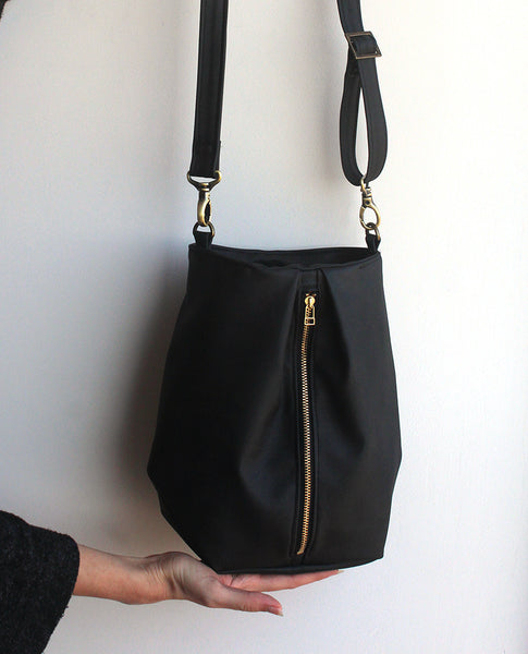 VENICE BUCKET BAG, Black Crossbody Bag - Eco friendly bag by Petrushka studio