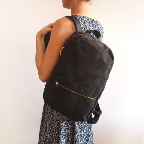 MILAN, black backpack - Faux leather backpack. Vegan backpack by Petrushka studio