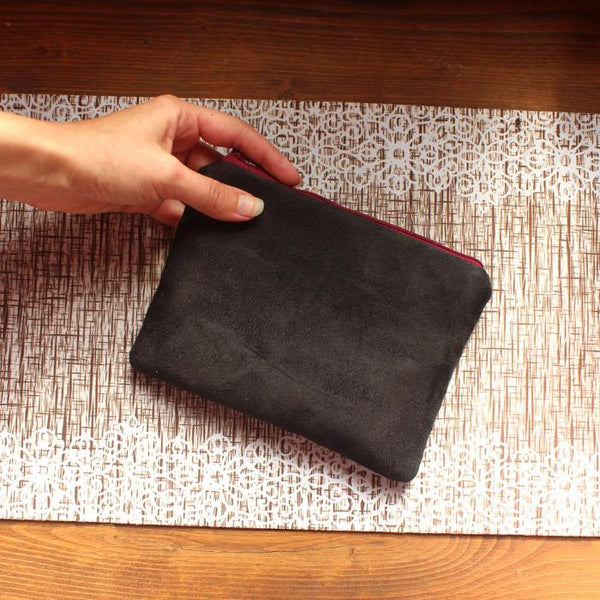 Small black pouch bag - faux suede pouch by Petrushka studio