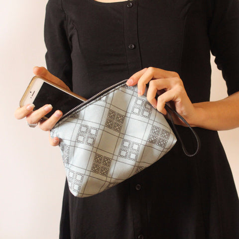 CHICAGO mini, small blue clutch bag with pattern. - Petrushka Studio - 1
