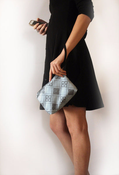 CHICAGO mini, small blue clutch bag with pattern. - Petrushka Studio - 4