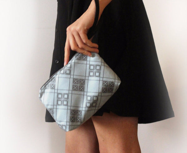 CHICAGO mini, small blue clutch bag with pattern. - Petrushka Studio - 2